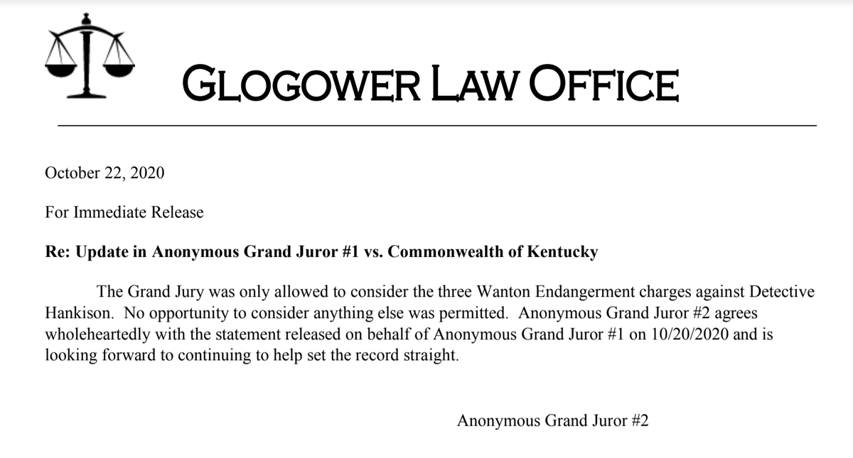 🚨NEW:🚨 A second grand juror in Breonna Taylors case has come forward to confirm that the the grand jury was only allowed to consider wanton endangerment charges against Det. Hankinson. There was never a chance that AG Cameron would allow the officers to be held accountable.