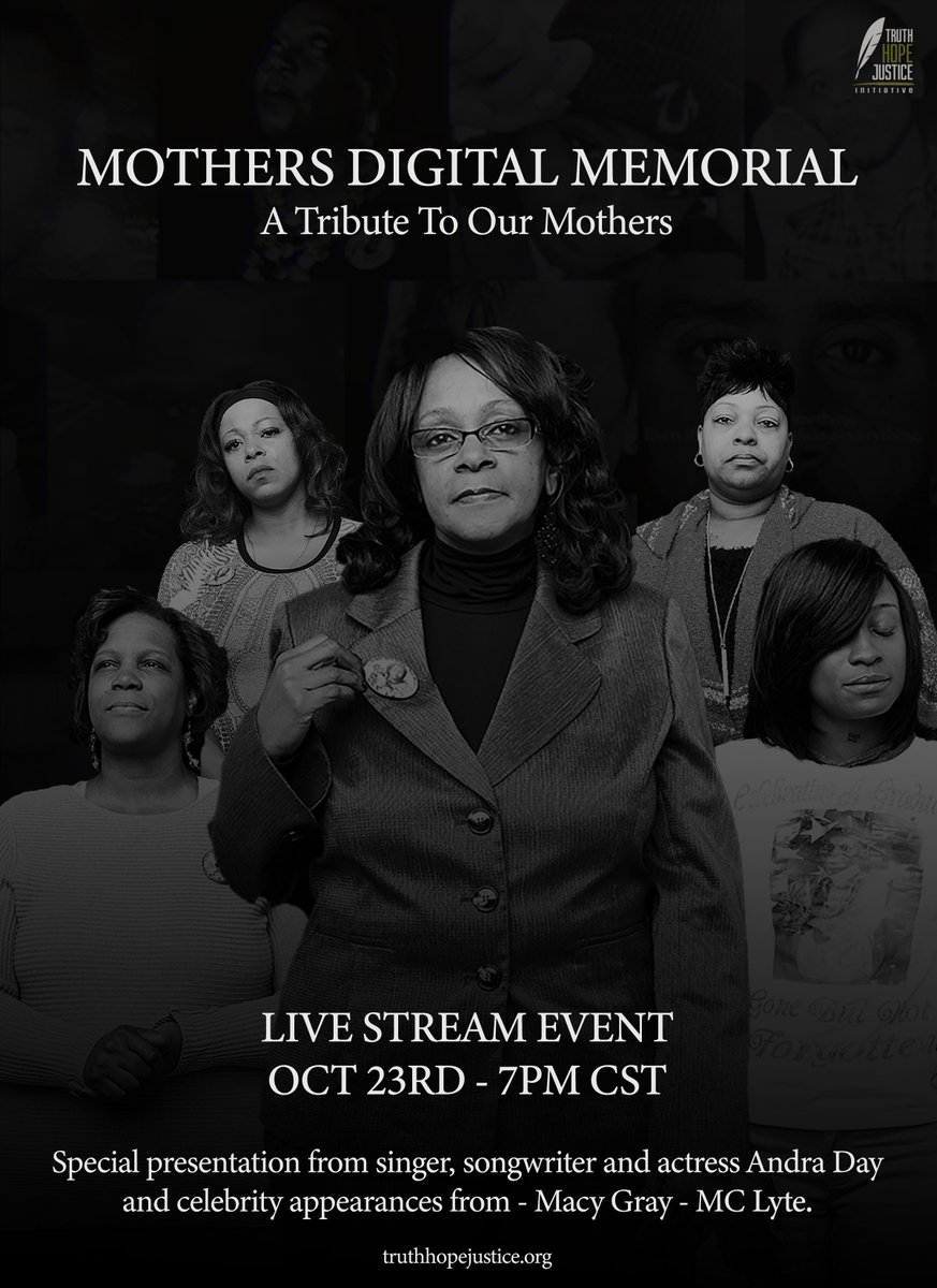 Tune in to join Andra Day for the Mothers Digital Memorial livestream at  tomorrow, 10/23 5pm PT / 7pm CT / 8pm ET. Follow  to support.