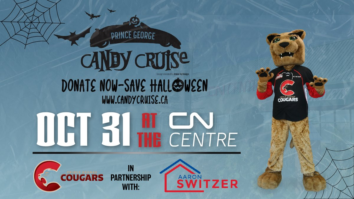 Candy Cruise Prince George is just over a week away! You could win a $250 gift card to Canadian Tire, courtesy of Aaron Switzer of RE/MAX Centre City. It's going to be spooktacular! 🎃👻 #CougarsHalloween #CityofPG https://t.co/dOli6BulOm