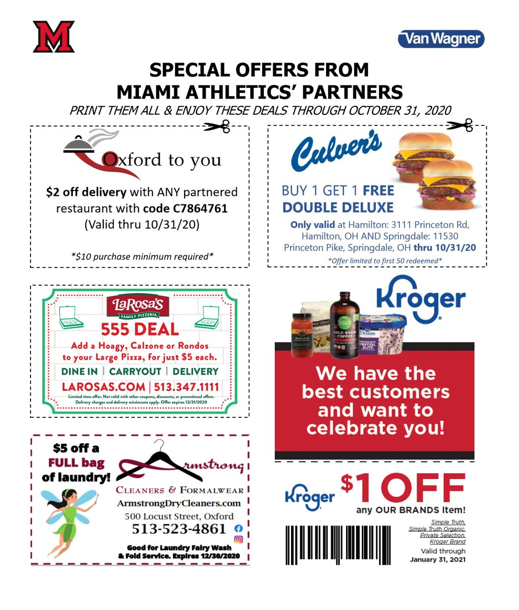 Miami Athletics On Twitter We Are Excited To Share Printable Monthly Specials With Miami Fans From Our Sponsors Thank You To Oxfordtoyou Larosaspizza Culvers Kroger Armstrong Cleaners Hurry These Coupons Expire