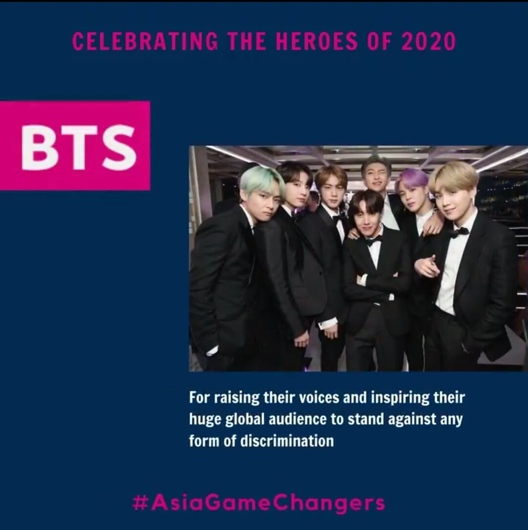 ¡¡Felicidades @BTS_twt por recibir el premio #AsiaGameChangers !! 🎉🎊  Gracias por ser una inspiración para nosotros y consolarnos especialmente durante estos tiempos difíciles 💜💜   #BTS #BTSARMY  https://t.co/39PxcGURbz