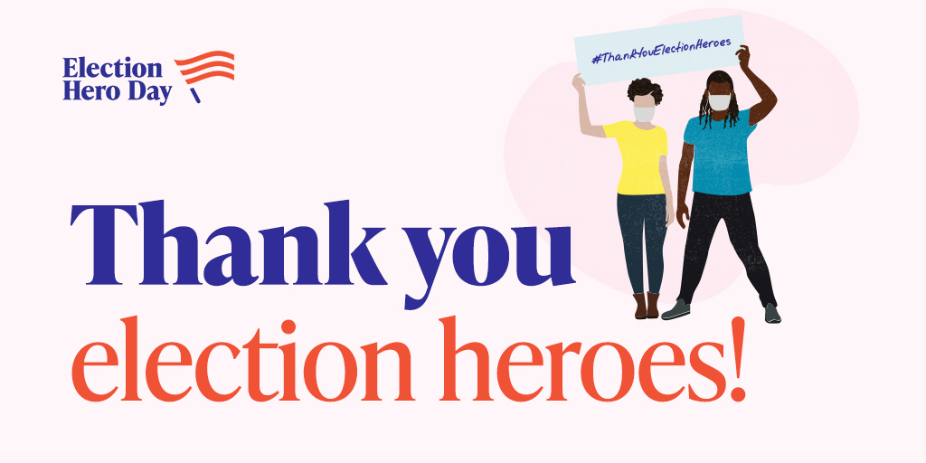 Thank you to the local community members from across the nation for stepping up and stepping in to adjust plans and processes to make our election run smoothly!  #CelebrateElectionHeroes #ThankYouElectionHeroes