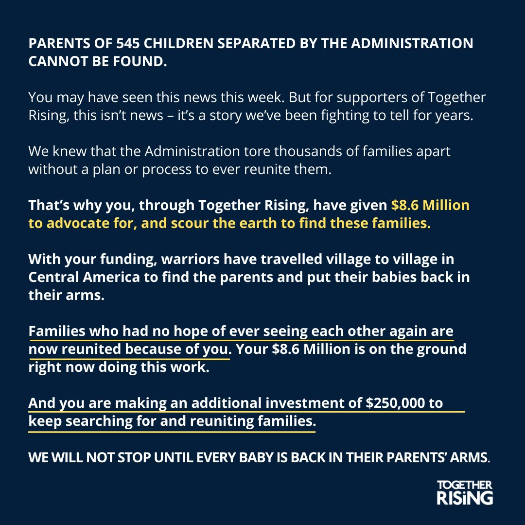 HOW WILL YOU REUNITE THE PARENTS WITH THE CHILDREN YOU STOLE FROM THEM @realDonaldTrump  @togetherrising https://t.co/Cc8Ukpron5
