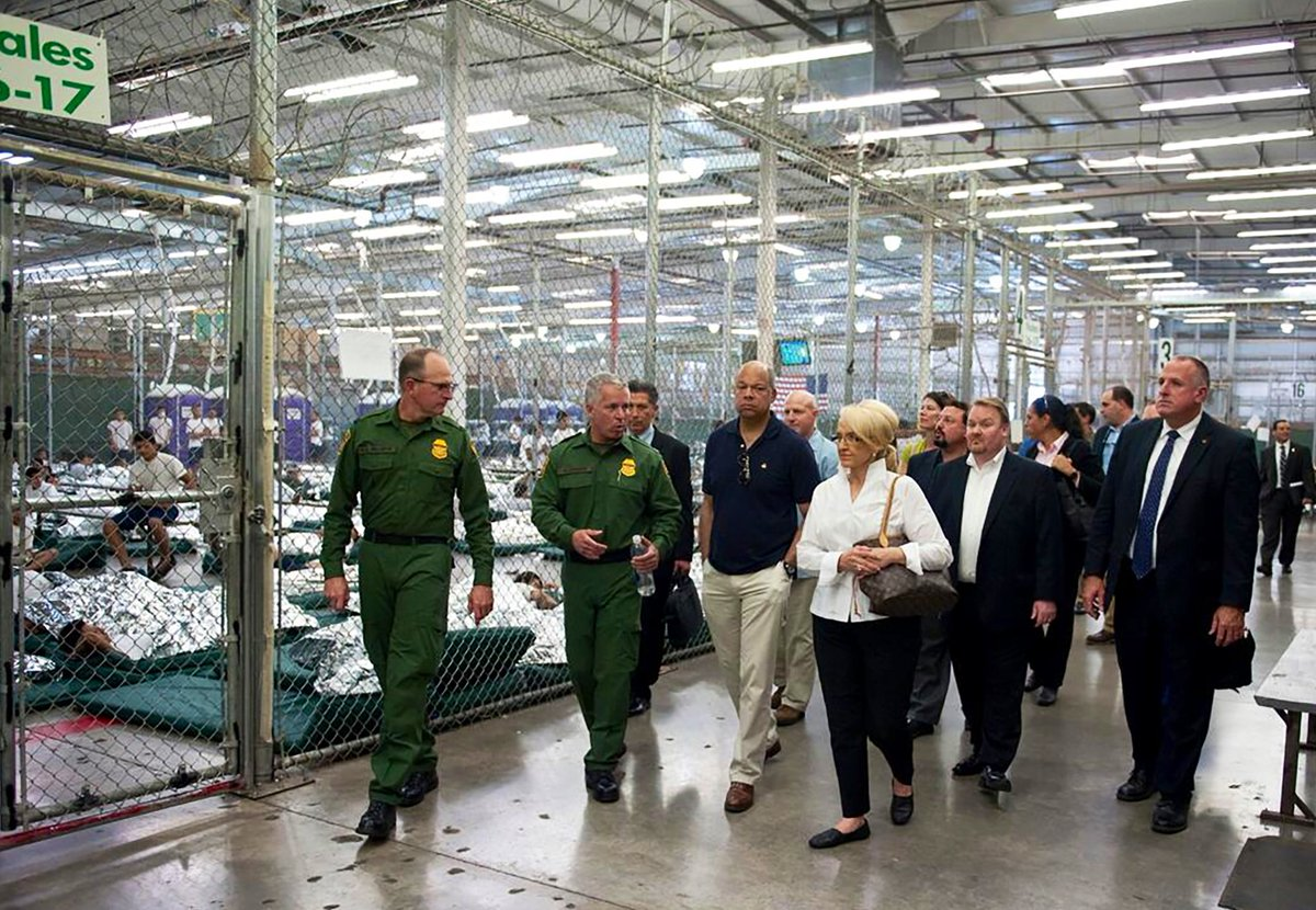 "#FACT: The Obama/Biden Administration built the ""cages"" at the southern border.   Here's a picture of Jeh Johnson, President Obama's Homeland Security secretary, touring the ""cages"" they built! https://t.co/WuZ84kOByN"