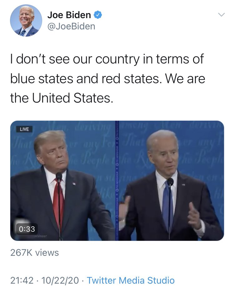Biden forgot all the times his campaign referred to red states and blue states