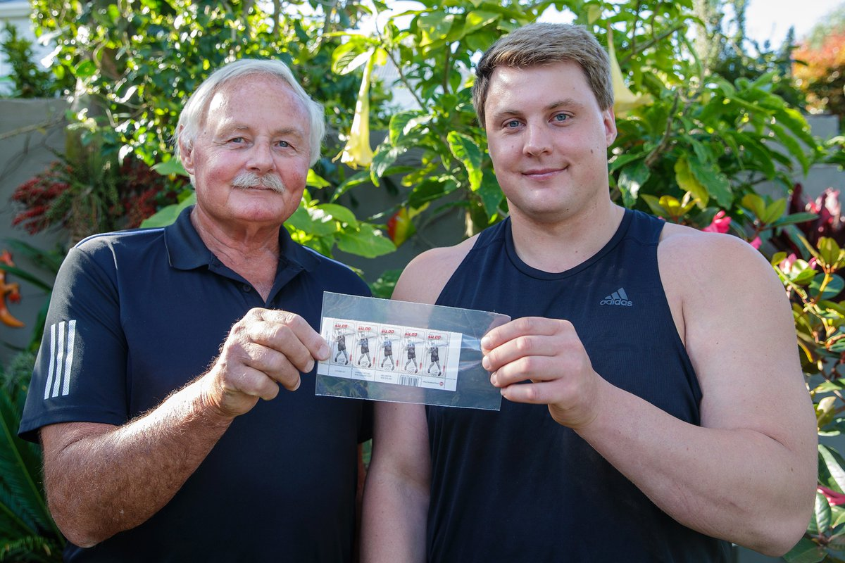 "Shotputter Jacko Gill is one of one of the NZ Team athletes to be featured on this awesome range of @nzpost stamps! 💌Jacko's Dad is a stamp collector & says it's ""pretty darn special"" to be adding a stamp of his son to his collection!   @AthleticsNZ  #EarnTheFern https://t.co/hpTP5SbRlj"