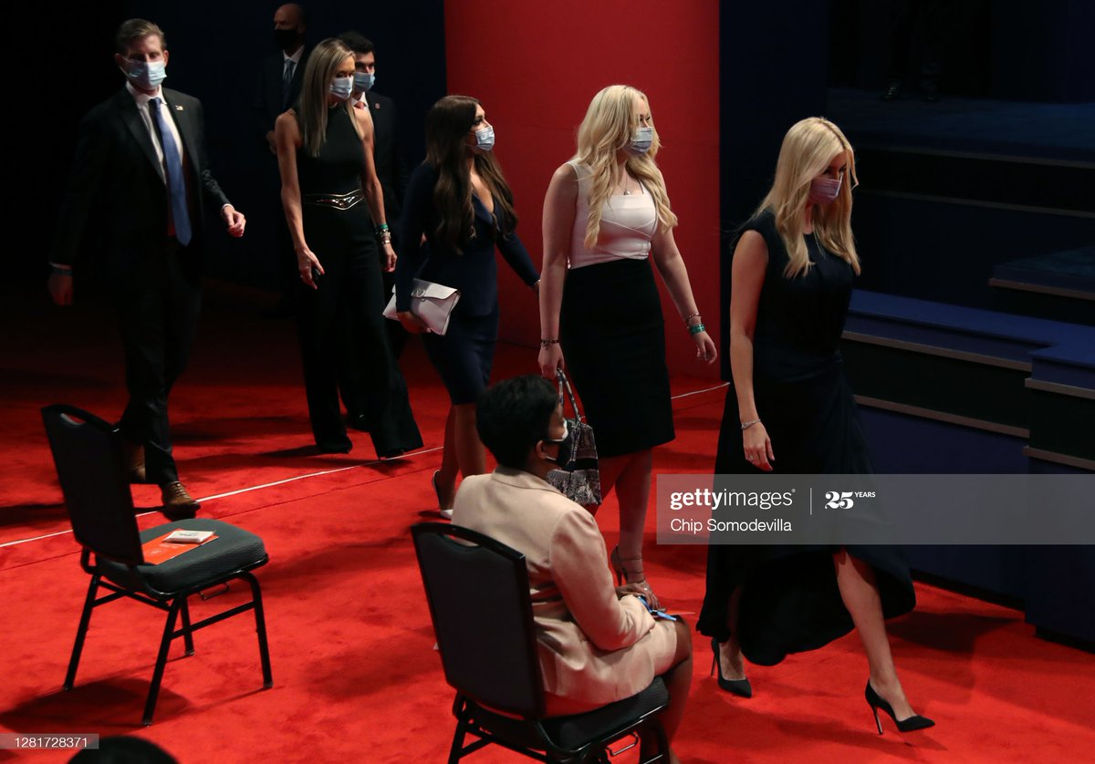 First Lady Melania Trump along with Donald Trump's daughters White House advisor Ivanka Trump and Tiffany Trump and Joe Biden's wife Dr. Jill Biden and along with musician Kid Rock watch the #PresidentialDebates2020  from the audience 📷 @somogettynews, @sullyfoto https://t.co/EkkuXa98PK