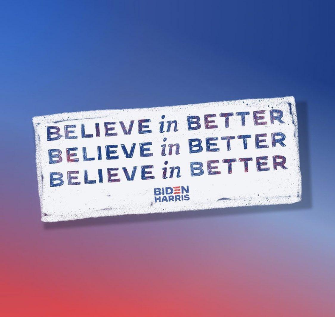 I do! #BidenHarris2020 #believeinbetter #righttovote #vote #VoteLikeYourLifeDependsOnIt #HumanRights #NoMoreHate #WeDeserveBetter https://t.co/DBLLXuHcFC