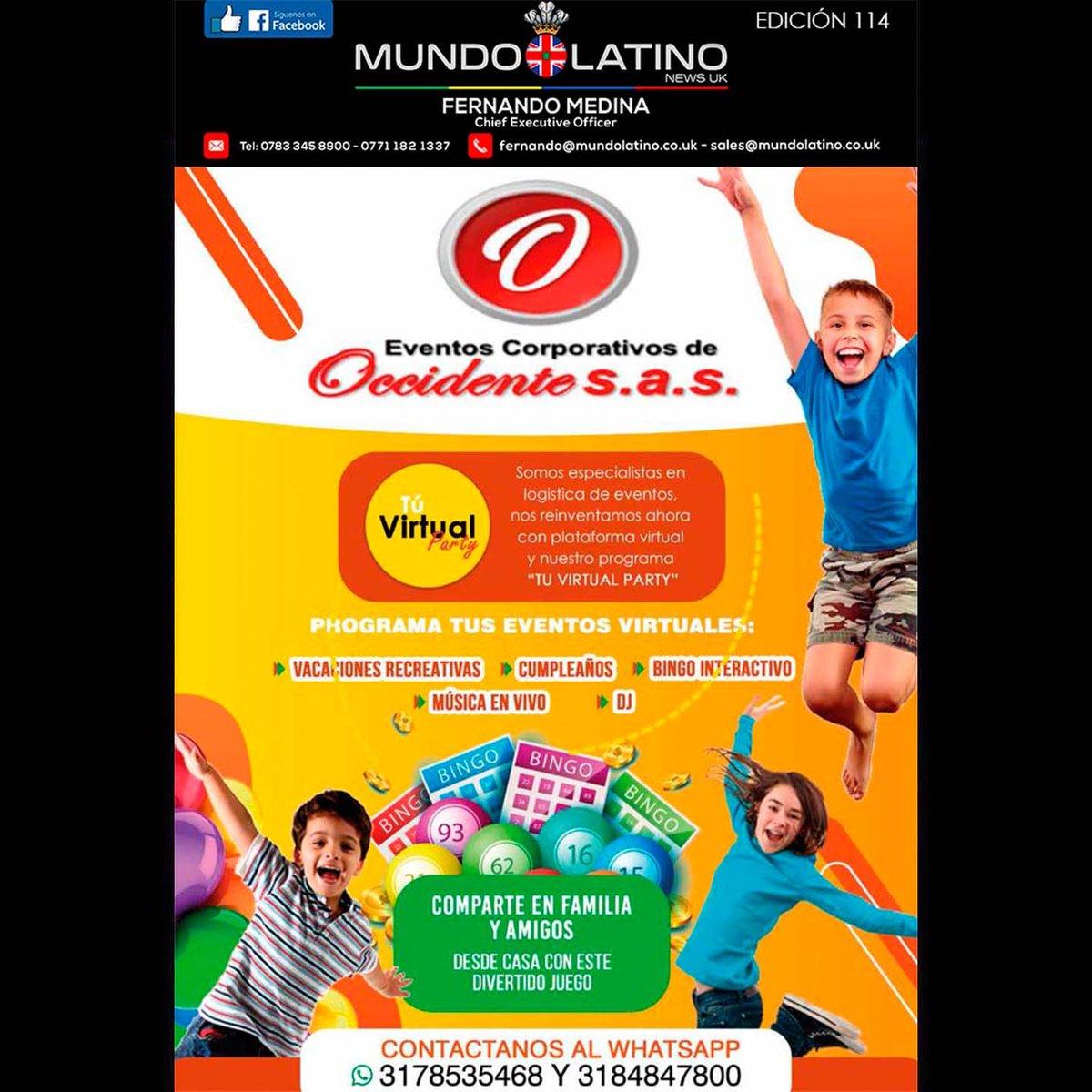 Eventos corporativos de Occidente s.a.s  #eventos #eventosvirtuales #vacaciones #bingo #musica #cumpleaños #colombia #MundoLatinoNewsUK https://t.co/oBb3yOq0LC
