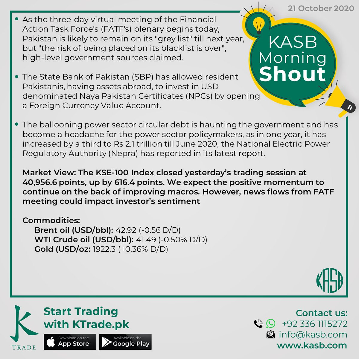 KASB Morning Shout: Our views on today's news #kasb #smartinvesting #psx #stockmarket #KTrade #onlinetrading #pakistaneconomy #imrankhan #sbp #inflation #kse100 #brokeragehouse #psxstocks #marketupdate #emergingmarkets #frontiermarkets #news #morning #today #views https://t.co/cBqlNr75Gu