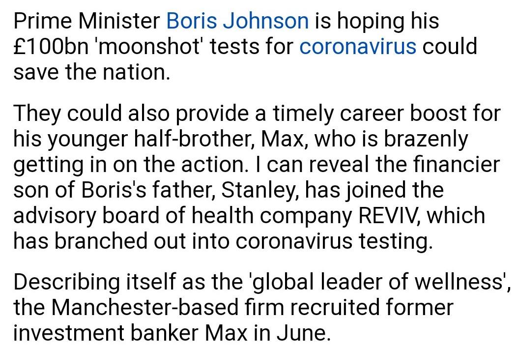 @SarahChampionMP Burnham gets £20 million.   Jenrick MP gets £25 million.  Berry gets MP £25 million.  DUP gets £1 billion. Jennifer Arcuri gets £126k  Johnson family gets millions £  A corrupt gov't under Boris like never seen in history. https://t.co/HFDcS15HRM