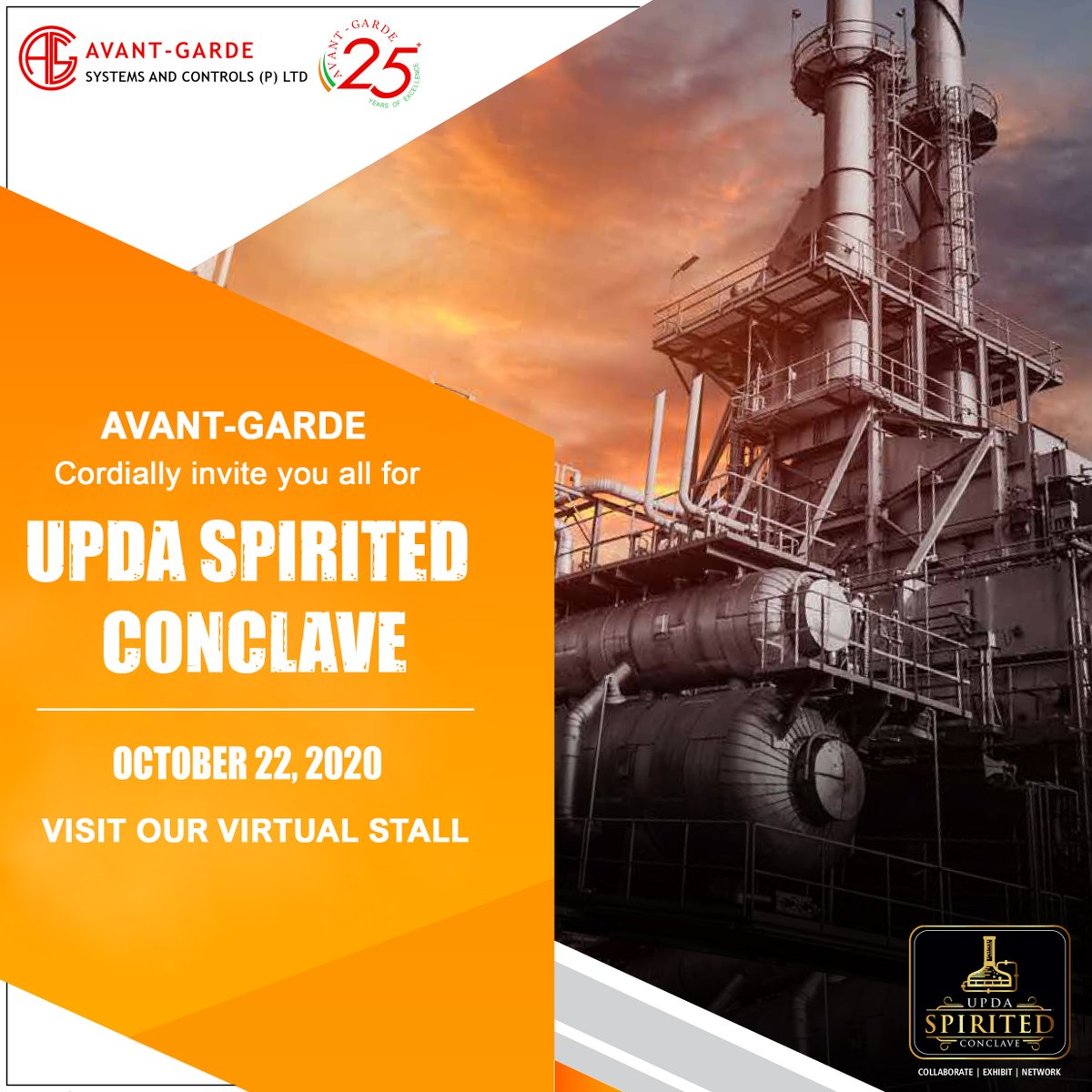 Avant-Garde cordially invite you to our Stall at UPDA's SPIRITED CONCLAVE on 22nd October 2020  For more details visit https://t.co/CEAOKPHpzu  #AvantGarde #AvantGardeIndia #UPDA #Distillery #Ethanol #ZLD #CNG https://t.co/1XWxnjET3s