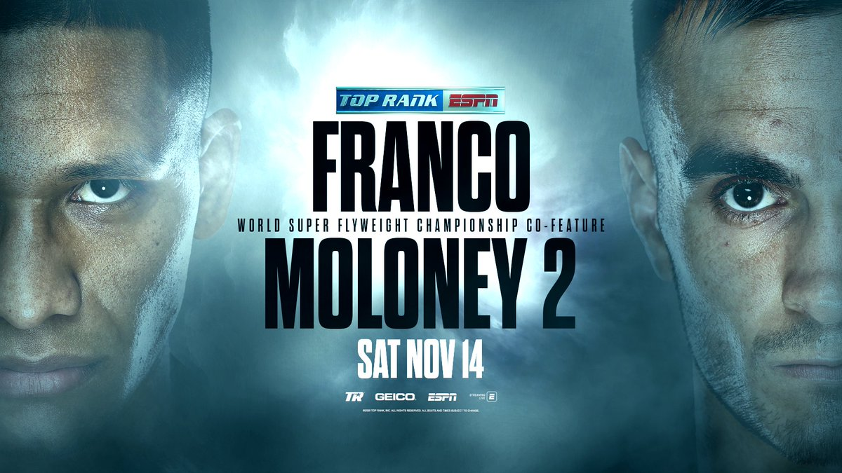 Does the WBA Super Flyweight strap stay put, or change hands for the second time in 5 months back to its previous holder? 🤔  🥊🗓 The first meeting was a war, and now #FrancoMoloney2 is set as chief support of #CrawfordBrook on Saturday, Nov. 14 on ESPN. https://t.co/bHlgcwcG8D
