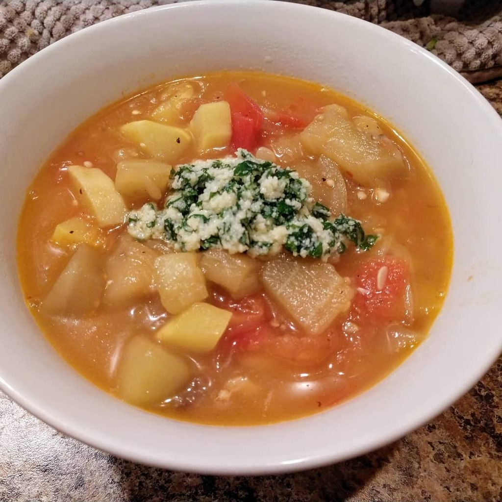 Ratatouille Soup  Recipe from @foodnetwork #fnmag #soup #dinner #homecooking #foodie #foodpics #delicious #yum #nomnom https://t.co/kiAmxGlbZE https://t.co/HlGYJm7uM4