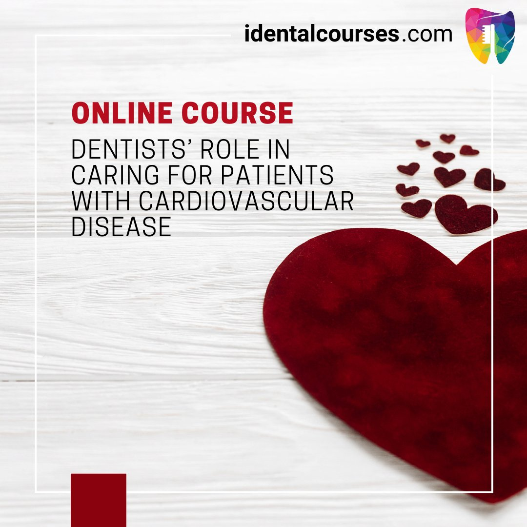 ONLINE COURSE: Dentists' Role in Caring for Patients with Cardiovascular Disease  Read more: https://t.co/JyGhuQGsNS  #dentist #dental #dentistry #dentalcourses #dentalcourse  #continuingdentaleducation #dentalonlinecourses  #cardiovascular #cardiovasculardisease #identalcourses https://t.co/2hSsnpRydb