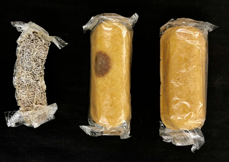 These are three Twinkies from a box of... Twinkies... and for eight years, the box of Twinkies sat in Colin Purrington's basement until last week when he finally opened them.   The one on the left looks tasty!!!  #f2b #kgra #media #ufo  #disclosure #conspiracy #radio #twinkies https://t.co/HrA2gSXMQX