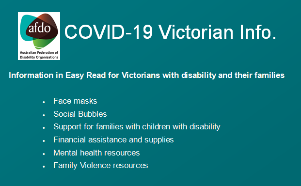 There are new #COVID19Vic Fact Sheets for people with #disability living in #Victoria on the @VicGovDHHS website, including:   ● Social Bubbles and visitors ● Information for families of #Children with #disabilities  You can find these Fact Sheets at:  https://t.co/lwYPbqz4fU https://t.co/3QCPxasODK