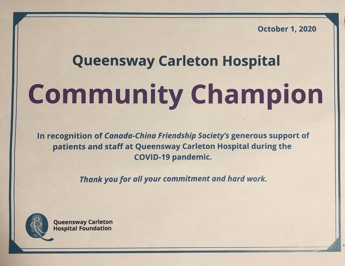 A pleasant surprise to have received a certificate for #CCFSO1 & a thoughtful note of appreciation from #QCHFoundation #QCHOttawa for our donations of #PPE during 1st wave of #COVID in 🇨🇦. Many thanks to all our frontline healthcare workers for protecting us & saving lives.🇨🇦🇨🇳❤️ https://t.co/N12EpA7R6A
