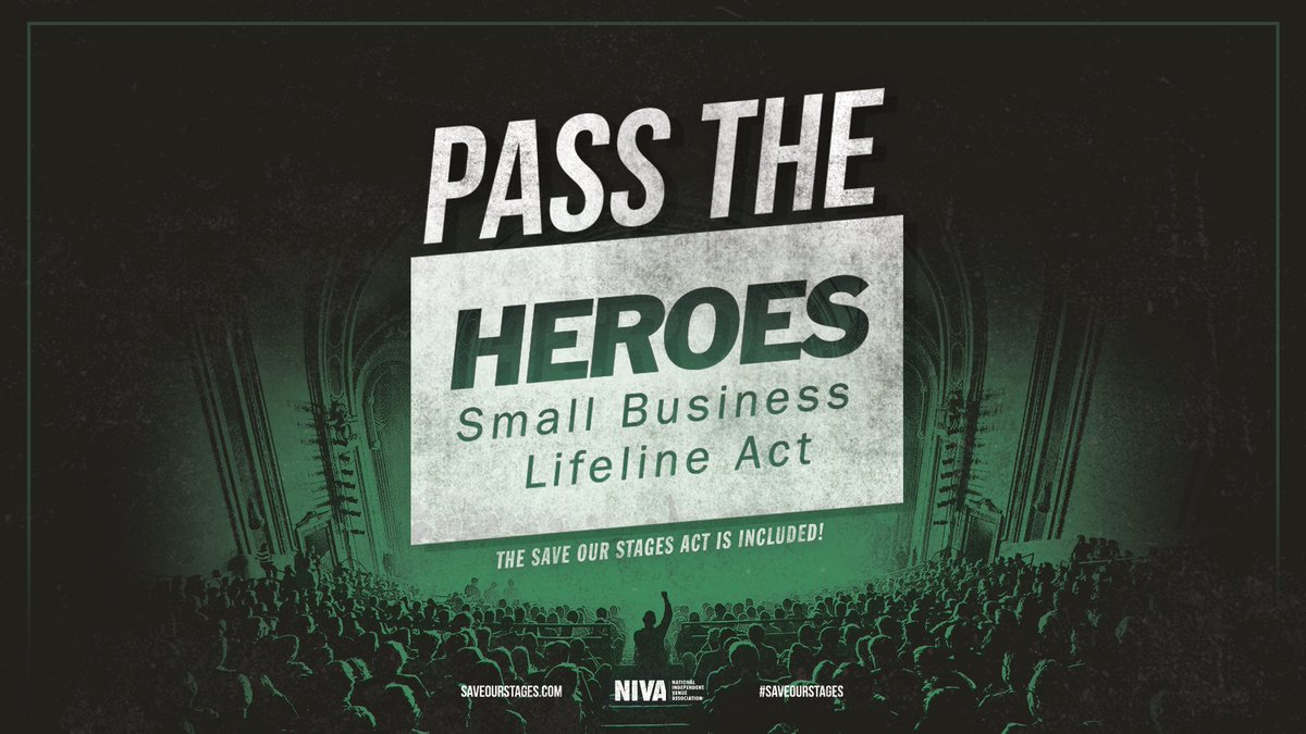 We need action. It's urgent. Thank you @SenSchumer, @SenatorShaheen, @ChrisCoons + @SenatorCardin for introducing the HEROES Small Business Lifeline Act, and for supporting small, independent businesses like venues, clubs + performing arts spaces. We need relief to #SaveOurStages https://t.co/i7T3EdARj0