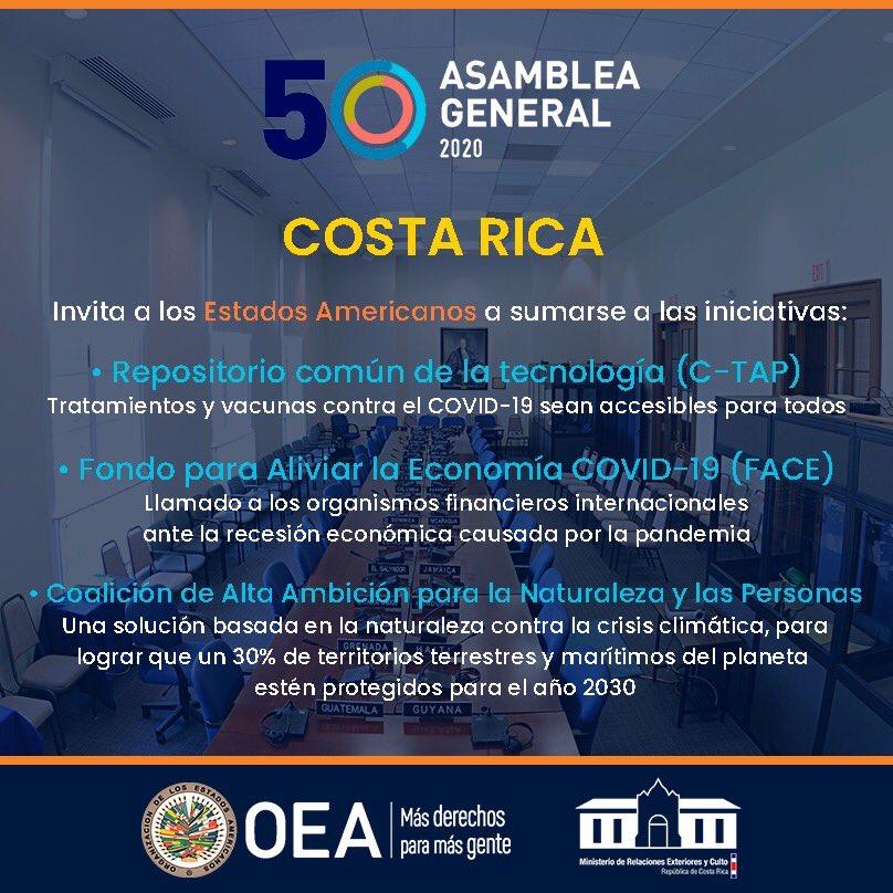 Costa Rica invita a los países miembros de la @OEA_oficial a sumarse a tres iniciativas: ✅Repositorio C-TAP            ✅Fondo para aliviar la economía ✅Coalición de Alta Ambición para la naturaleza y las personas #SomosAcciónExterior #AsambleaOEA https://t.co/o1eay2s87J