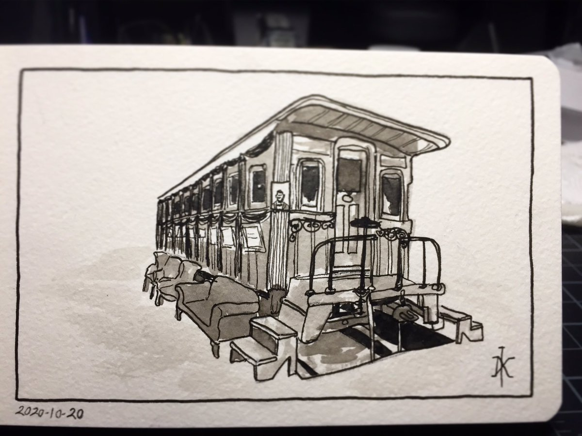 Abraham Lincoln's private railroad car on exhibit at the 1904 World's Fair. . #inkwash  #inkdrawing #markerdrawing #stlouis #forestpark #louisianapurchaseexposition #sltworldsfair #1904worldsfair #abrahamlincoln #Lincoln #traincar #railroadcar https://t.co/S4fqrrwEpA