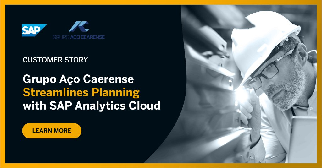 With SAP Analytics Cloud, Grupo Aço Cearense streamlined their planning process and achieved:  ✔️ 70% increase in productivity  ✔️ 40% increase in budget reliability  ✔️ 66% decrease in time required to draft a budget https://t.co/BQWrggXaie https://t.co/gN1s04jnXr