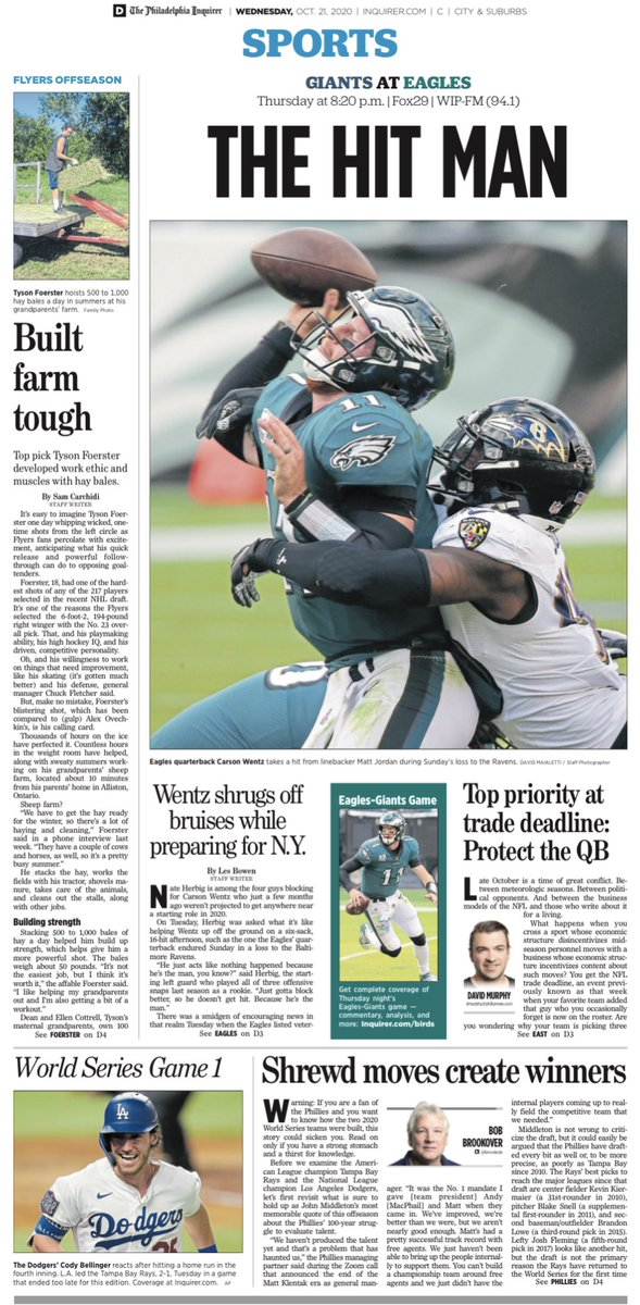 An early look at Wednesday's  #Philadelphia #Inquirer (@PhillyInquirer) #sports front   >>> SUBSCRIBE: https://t.co/DnGW2LbYPy  #Coronavirus #COVID19  #StayHome  #Philly #FlyEaglesFly  #RingTheBell  #Phillies #Flyers #76ers #Eagles #WorldSeries https://t.co/aaotqcHxYK