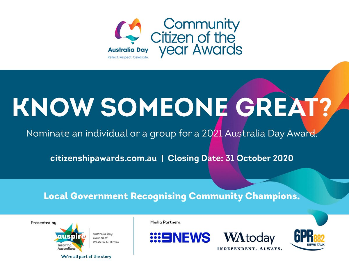 COMMUNITY CITIZEN OF THE YEAR NOMINATIONS 🏅  There is not long left to nominate for the 2021 Community Citizen of the Year awards! Nominations close on Saturday, 31 October 2020.  Submit your nominations here: https://t.co/EUyiC1AVOv  #Merredin #ShireofMerredin #Wheatbelt https://t.co/eWCV7mdjNL