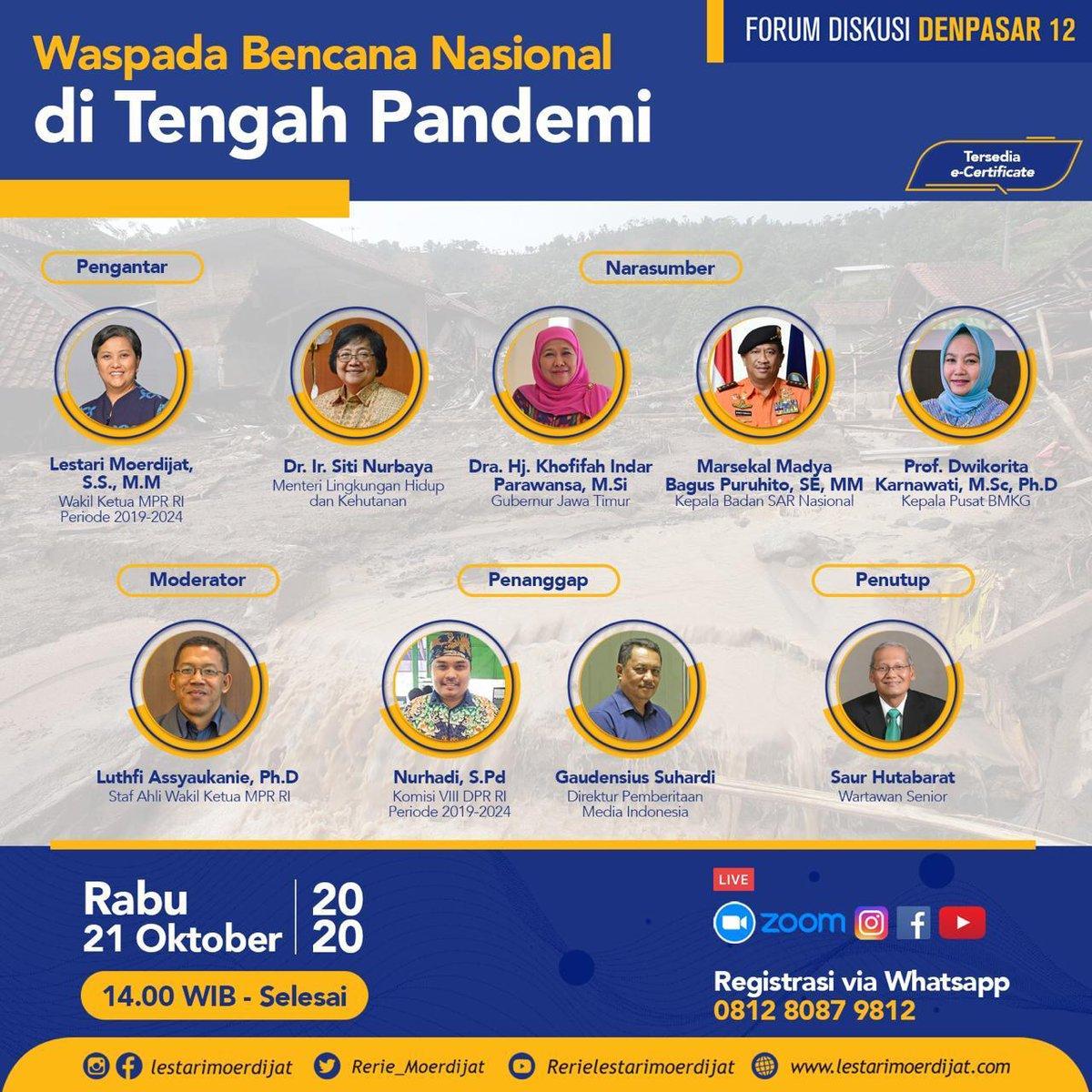 Forum Diskusi Denpasar 12 memasuki Edisi XXX. Tema yang akan dibahas kali ini adalah Waspada Bencana Nasional di Tengah Pandemi. Sambil mengoptimalkan segala upaya mengendalikan penyebaran wabah, kita waspadai bencana lain. #KabarAnggota  #FilantropiIndonesia https://t.co/fMAlfjgYjO