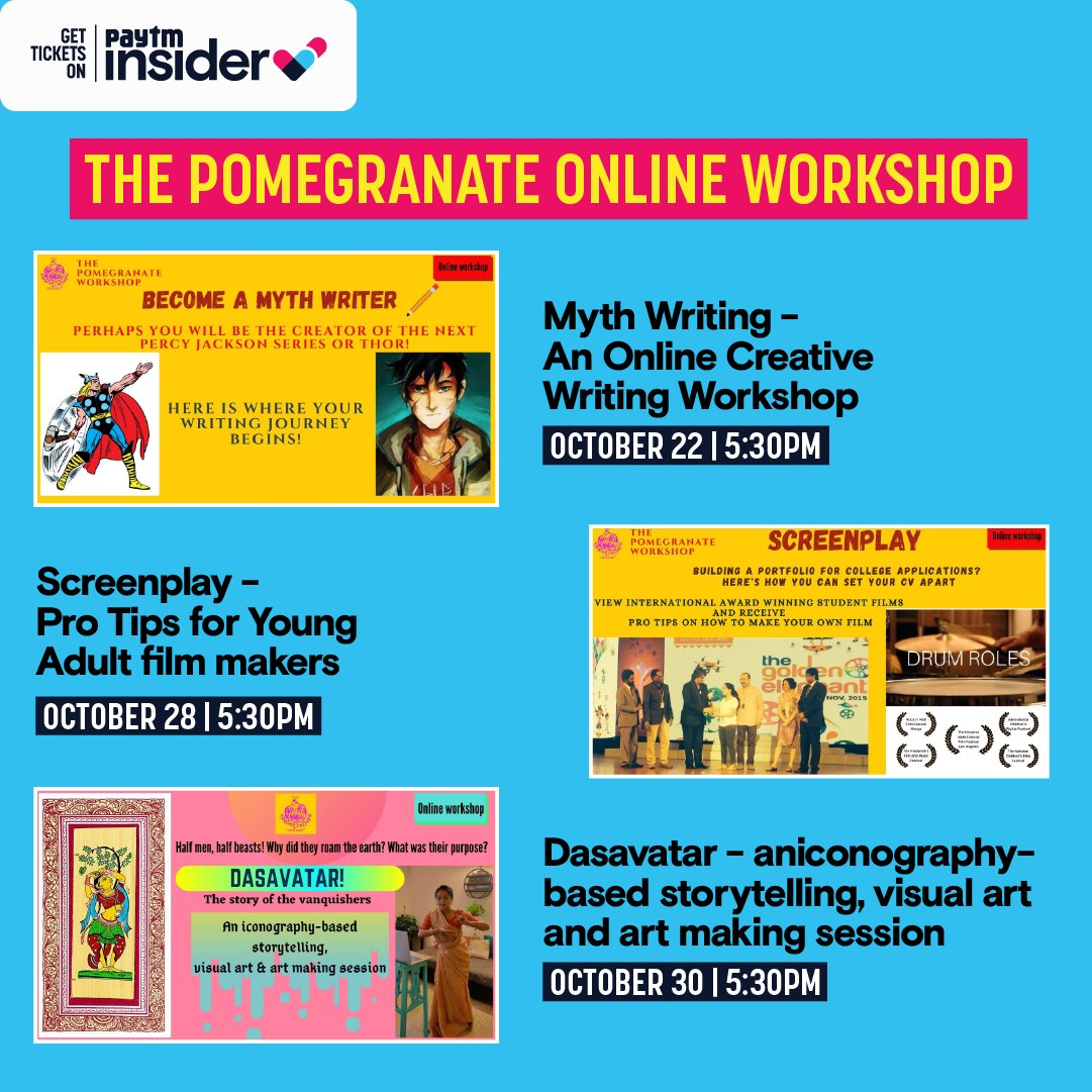 The Pomegranate #workshop has a series of various interesting online #Art and #storytelling workshops for you to tune into from your home! Check the various classes out and book your spot on them today! https://t.co/DKJHh6EzZq https://t.co/7fJYJqhEjX