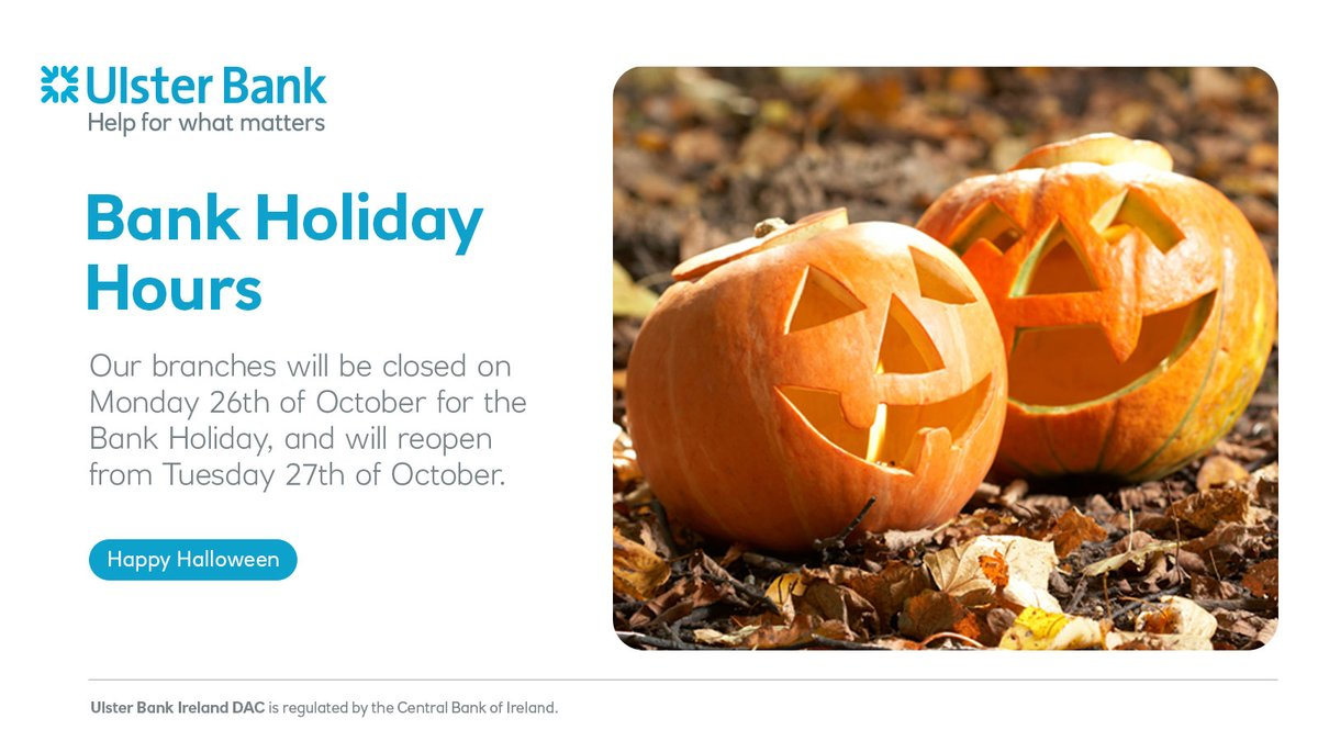 Happy Halloween from all of us at Ulster Bank. Stay safe this Bank Holiday weekend. https://t.co/hdCFv7nrAV