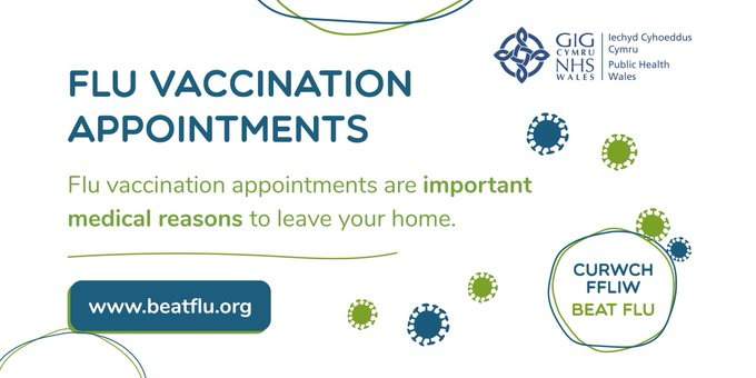 IMPORTANT NOTICE for upcoming national 'firebreak' period:   Flu vaccination appointments are important medical reasons to leave your home.   Protect yourself and others. If you have an appointment booked, please attend. #BeatFlu https://t.co/nEkApAKoyj