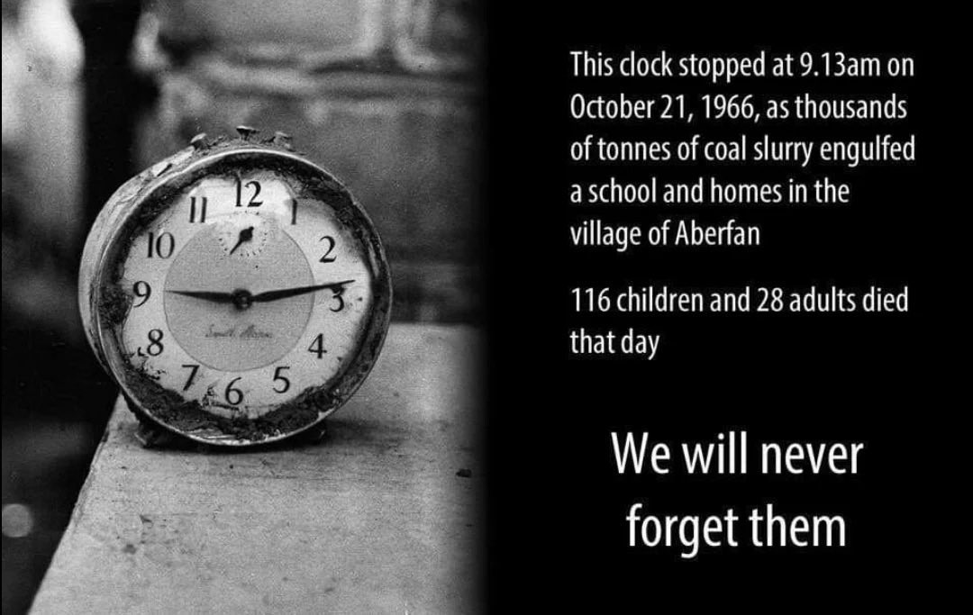 54 years ago on this day, 116 children & 28 adults were killed in an entirely preventable disaster. We must never forget them.   #Aberfan ❤️ https://t.co/gIAYZf52bk