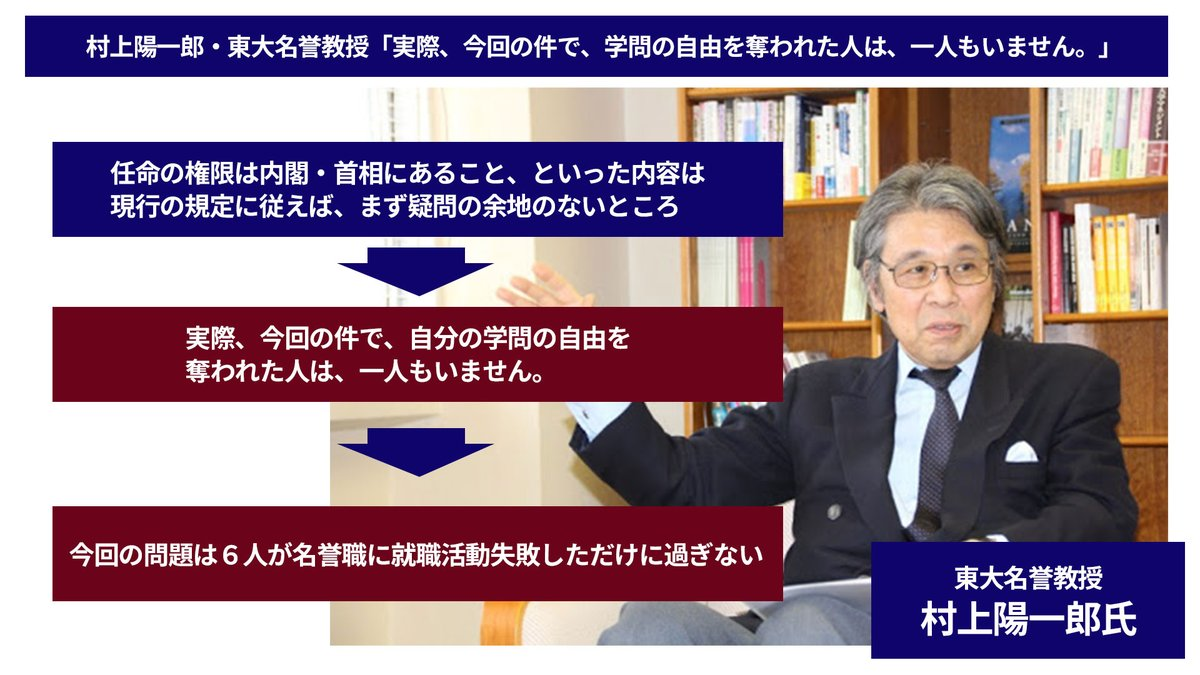 【日本学術会議会員任命問題を、村上東大名誉教授が一刀両断!】 騒げば騒ぐほど、怪しくなる日本学術会議。今回の件を村上氏が、わかりやすく解説してくれた。  「学問の自由」を侵害された人はいない、そして6人が就活に失敗しただけ。  この解説、野党のみなさん、理解できましたか? https://t.co/TVZ5CJAo65