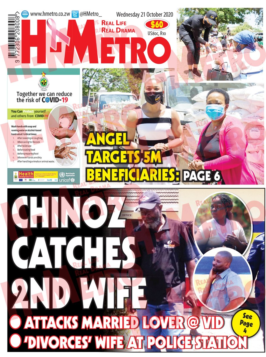 Todays @HMetro_ : 🔴CHINOZ CATCHES 2ND WIFE🔴ATTACKS MARRIED LOVER @ VID 🔴DIVORCES WIFE AT POLICE STATION : Read more @ hmetro.co.zw