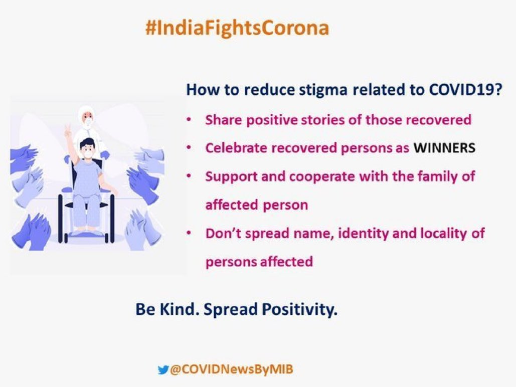 #IndiaFightsCorona: 📍How to reduce Stigma related to #COVID19 ❓❓❓ ↗️ Share positive stories of those recovered ↗️ Celebrate recovered persons as Winners ↗️ Support and cooperate with the family of affected person #Unite2FightCorona #StaySafe #IndiaWillWin