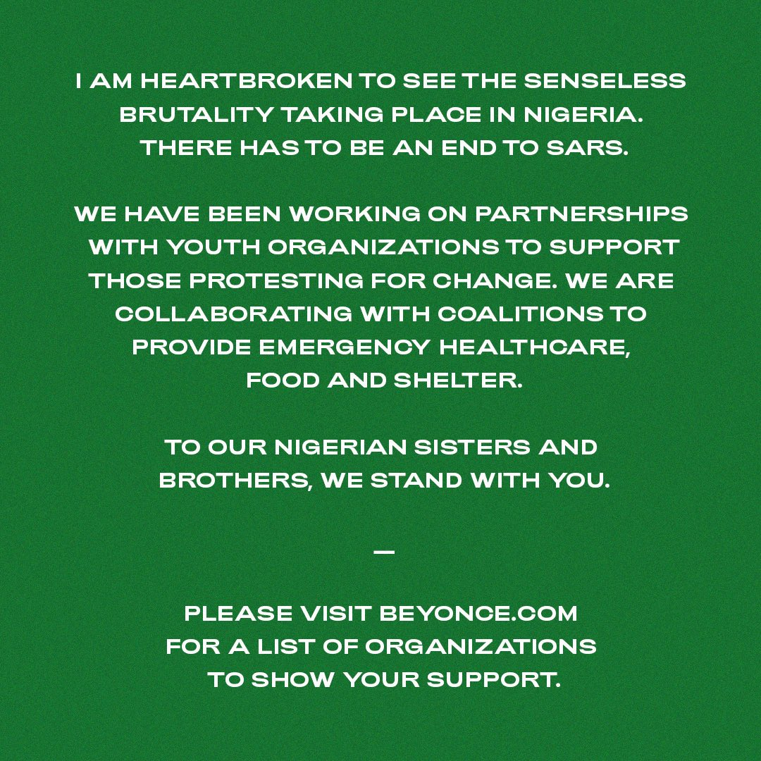A message from Beyoncé.
