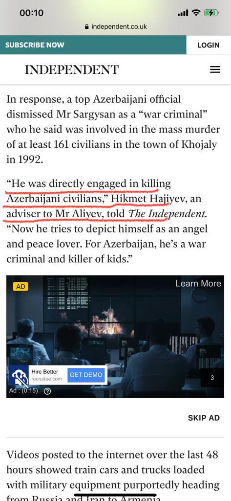 """My response in @Independent to #warcriminal Serj Sagrgisyans interview. """"He was directly engaged in killing Azerbaijani civilians,"""" """"Now he tries to depict himself as an angel and peace lover. For #Azerbaijan, he's a war criminal and killer of kids."""" #StopArmenia"""