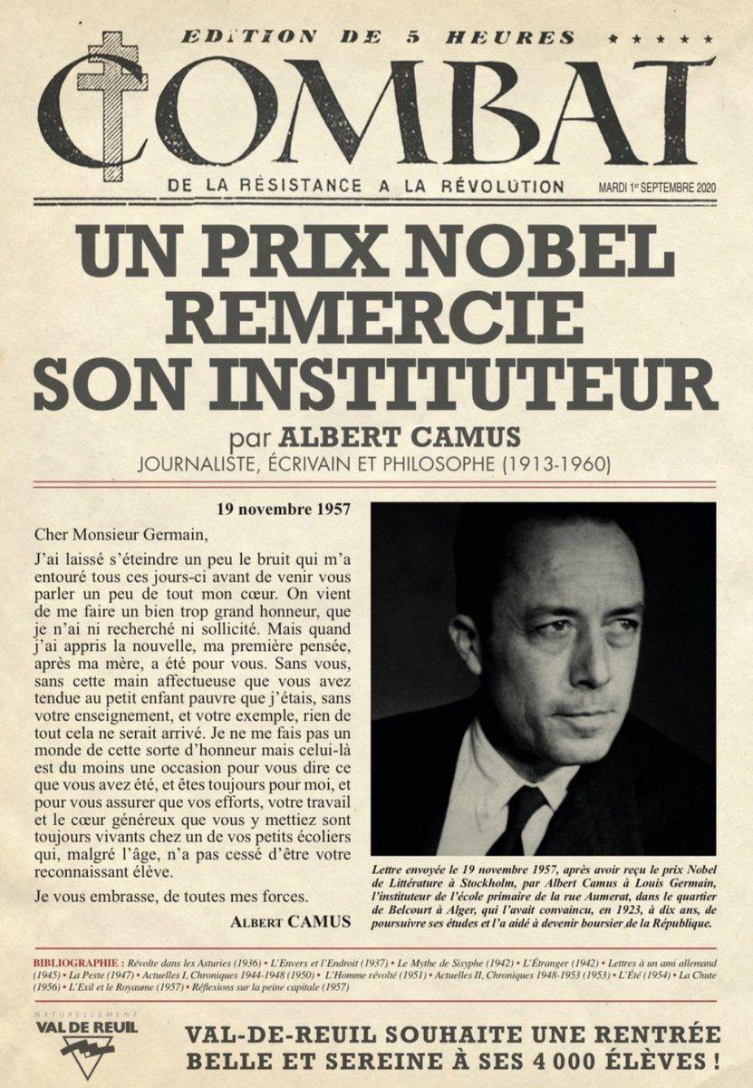 """Amélie Millet on Twitter: """"📚🇫🇷Novembre 1957, Albert Camus, prix Nobel,  remercie son instituteur Louis Germain dans une lettre. Hommage à l'#ecole  républicaine et à la #Libertedexpression… https://t.co/i4tzc5vvZd"""""""