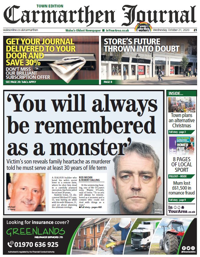 Today's Carmarthen Journal front page. @Carmjournal #SupportYourLocalPaper #buyapaper