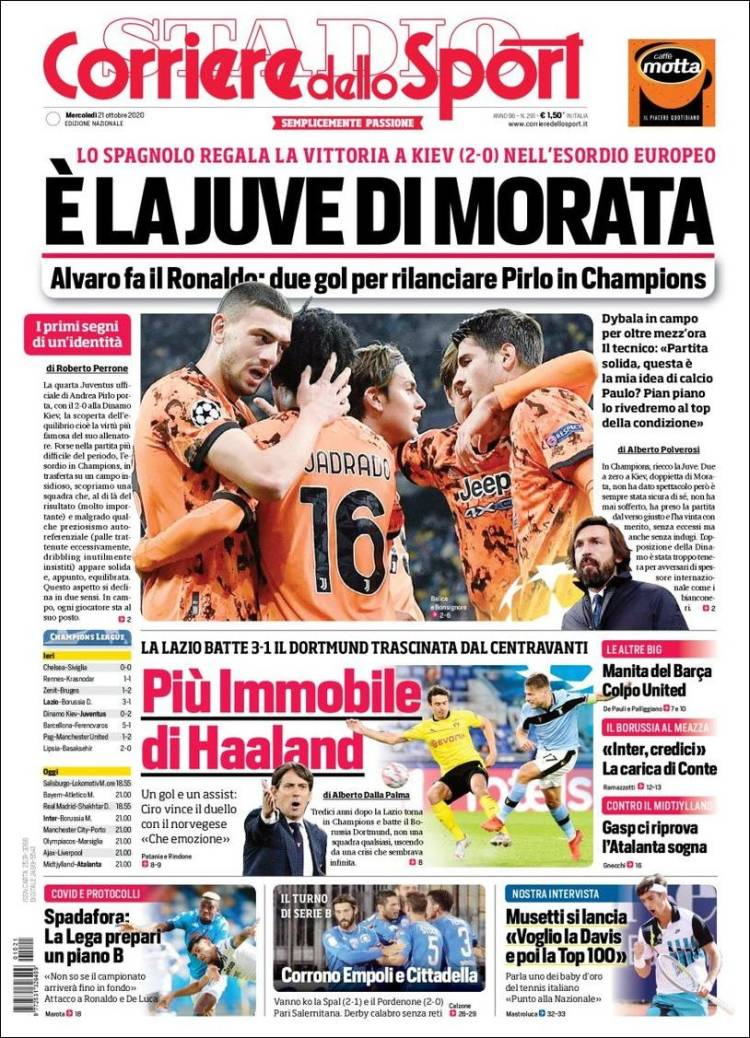 CORRIERE DELLO SPORT https://t.co/mEsWcFto7r #r2p #corrieredellosport #Sport #Venise #Milan #Italia #Italie #Italy #Football #Calcio #FIFA #Covid #Squadra #Ronaldo #Messi #Napoli #Tim #Mib30 #Roma #Lazio #Reds #Ligue #Mercato #Formula1 #Ferrari #Alonso #Sainz #PSG #Messi #Ronaldo https://t.co/jhgRrvoGYd