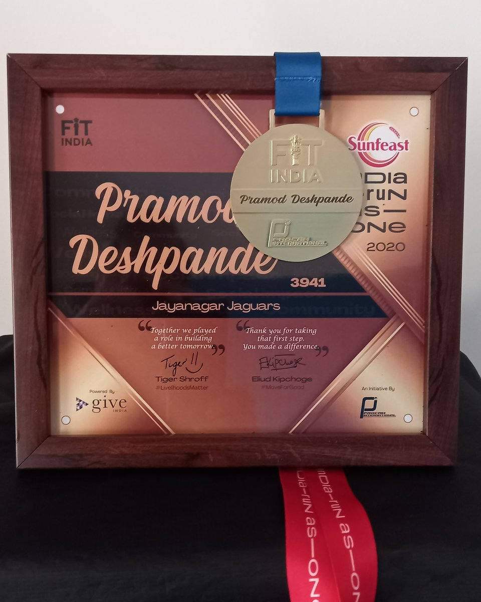 Personalised Gold Medal, with nicely framed certificate. A perfect appriciation of 200km Contributed towards a great cause #SunfeastIndiaRunAsOne indiarunas Thanks @procamintl for such nice gesture. And  @Indiarunasone for a meaningful cause. #fitindia #jjsrunning