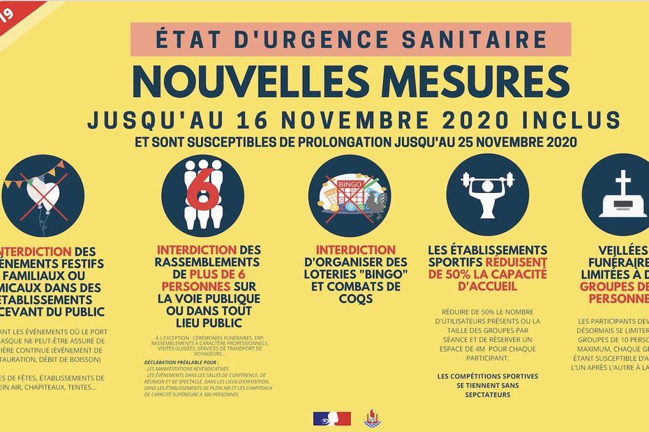 #Coronavirus : attention, de nouvelles mesures sanitaires s'appliquent en #Polynésie à compter de ce jour jusqu'au 16 novembre 2020 inclus ⚠️ ➡️ Interdictions de certains rassemblements, port du masque étendu... Le point dans cet article ⤵️ https://t.co/2IzFH7DTpO https://t.co/Mxtqtp9Y3k
