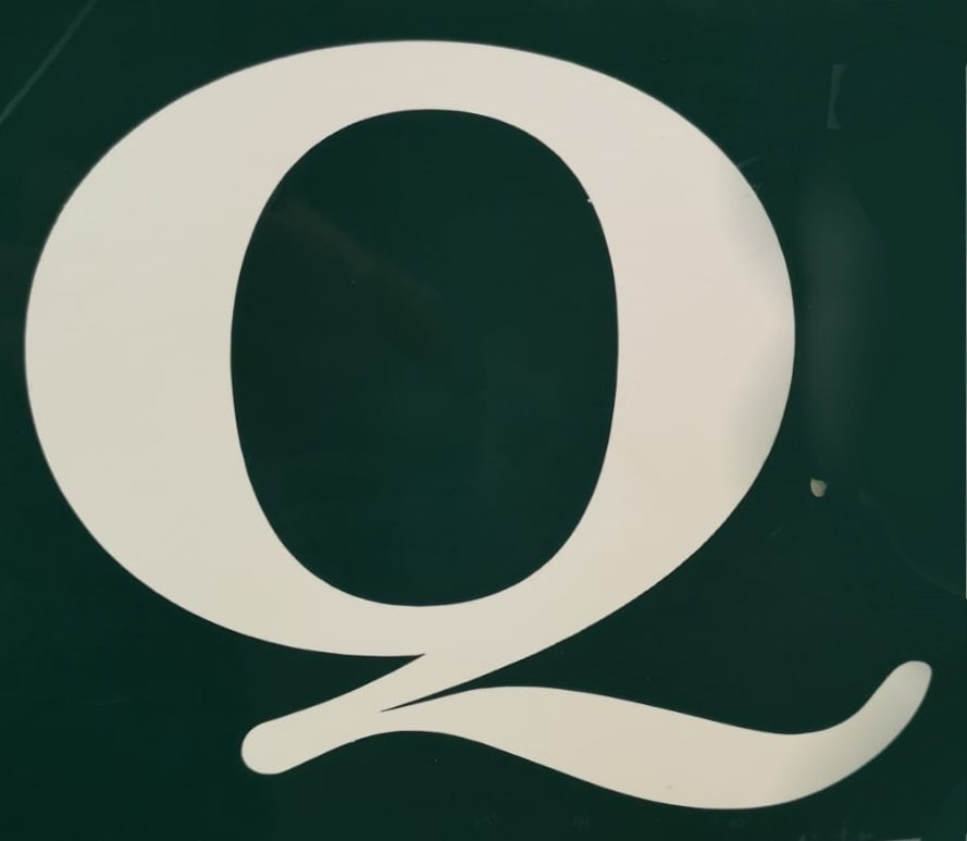A series of four photos of the letter Q on Dublin signs