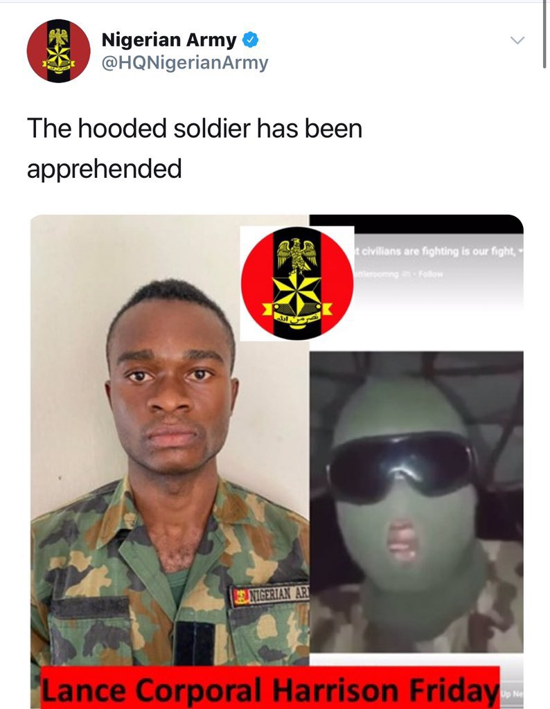THIS IS HARRISON FRIDAY, HE MADE A VIDEO BEGGING HIS FELLOW ARMY NOT TO SHOOT INNOCENT CIVILIANS SENT TO LEKKI MASSACRE. THE NIGERIA ARMY HAS FRAMED HIM FOR CYBERCRIME LET THE WORLD KNOW. #EndSARS #EndBadGoveranceInNigeria  #basedonwhat #EndPoliceBrutalityinNigeraNOW  #Genocide https://t.co/T7vo8NVgbV