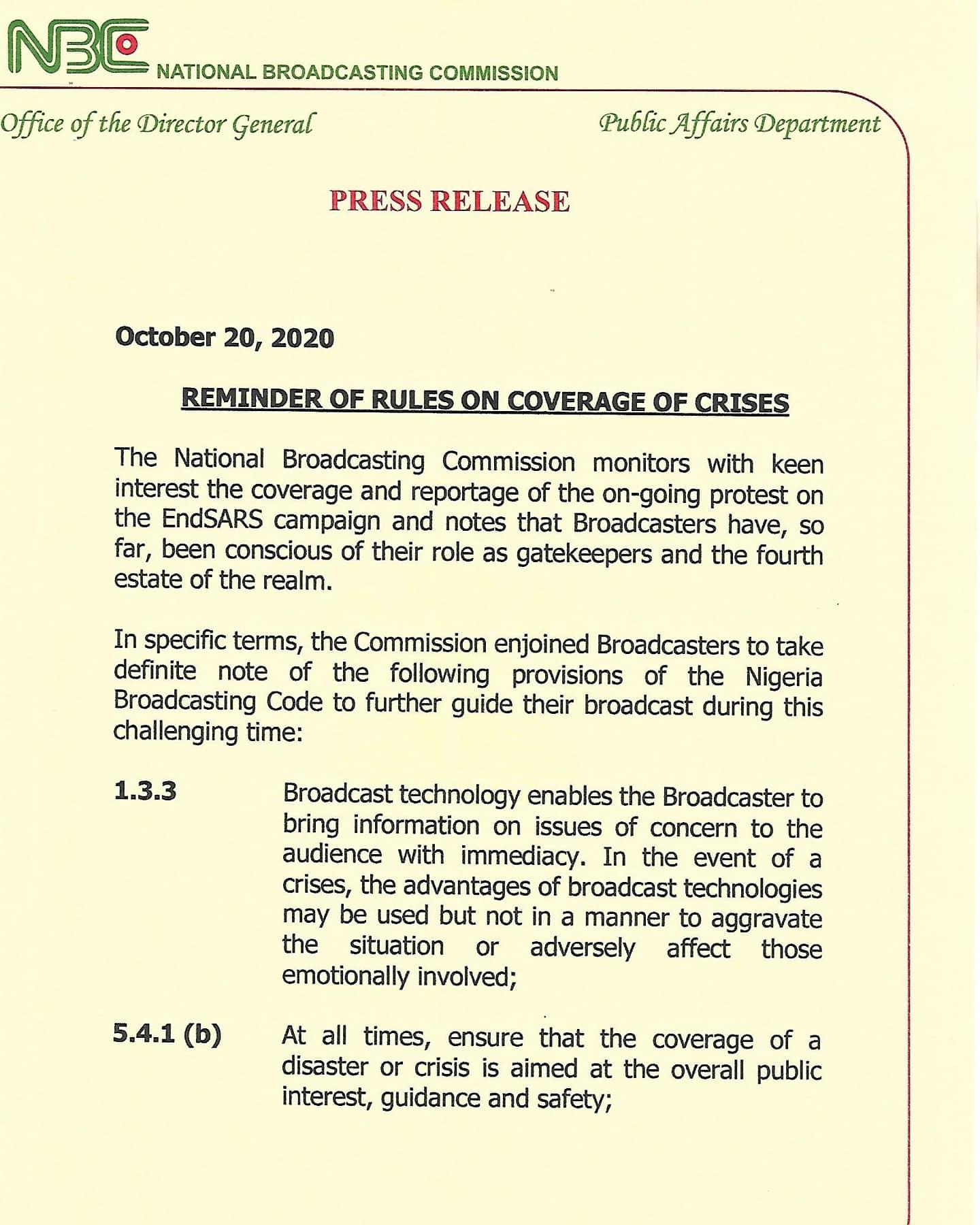 NBC Fines Channels TV, AIT, Arise TV N9m Over #EndSARS Coverage