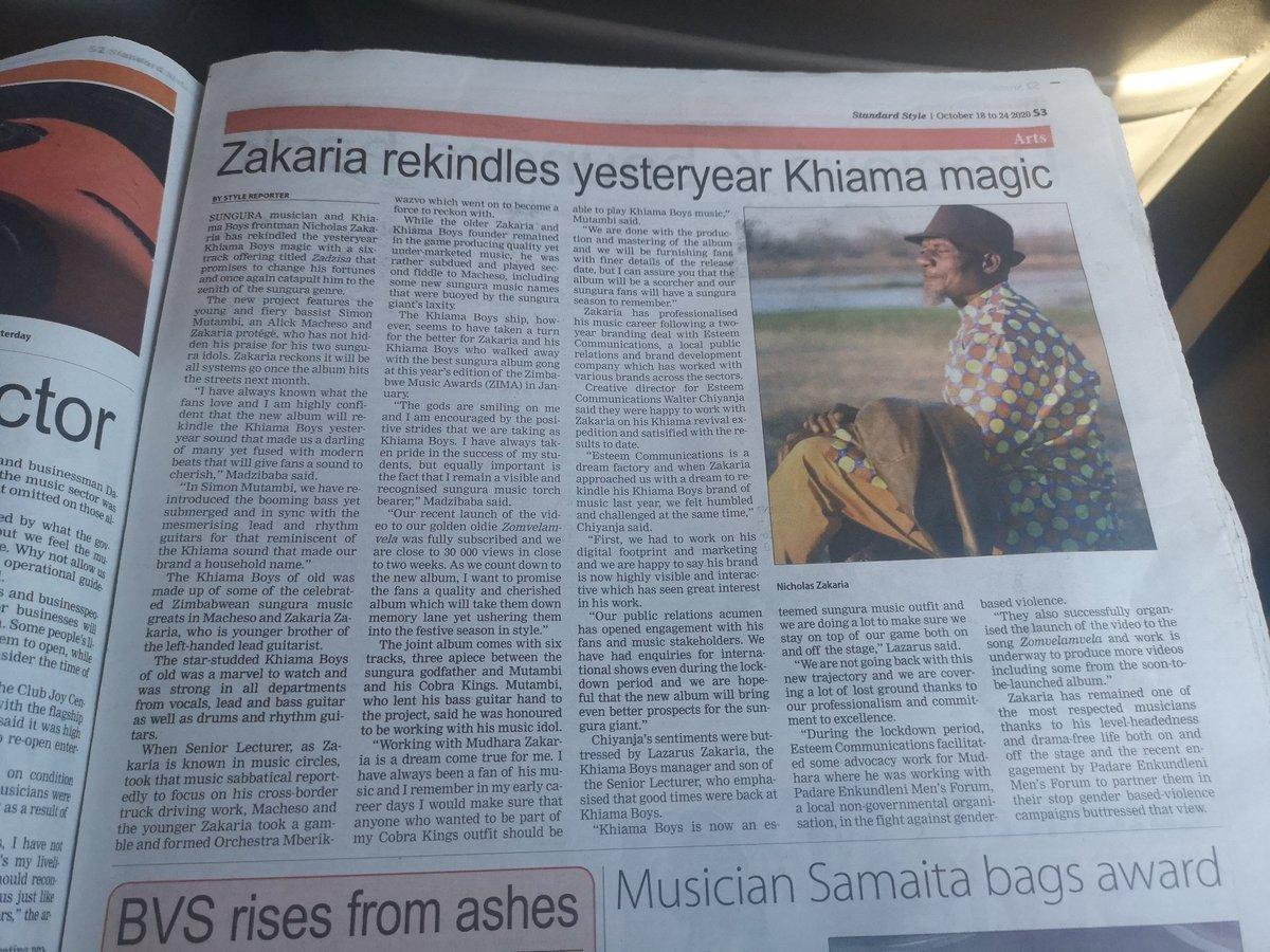 The good times are back with Khiama Boys. New joint album with Simon Mutambi #Zadziso coming soon. Tengai maspeaker @HMetro_ @Mavhure @SunguraCentral @Wamagaisa thestandard.co.zw/2020/10/18/zak…