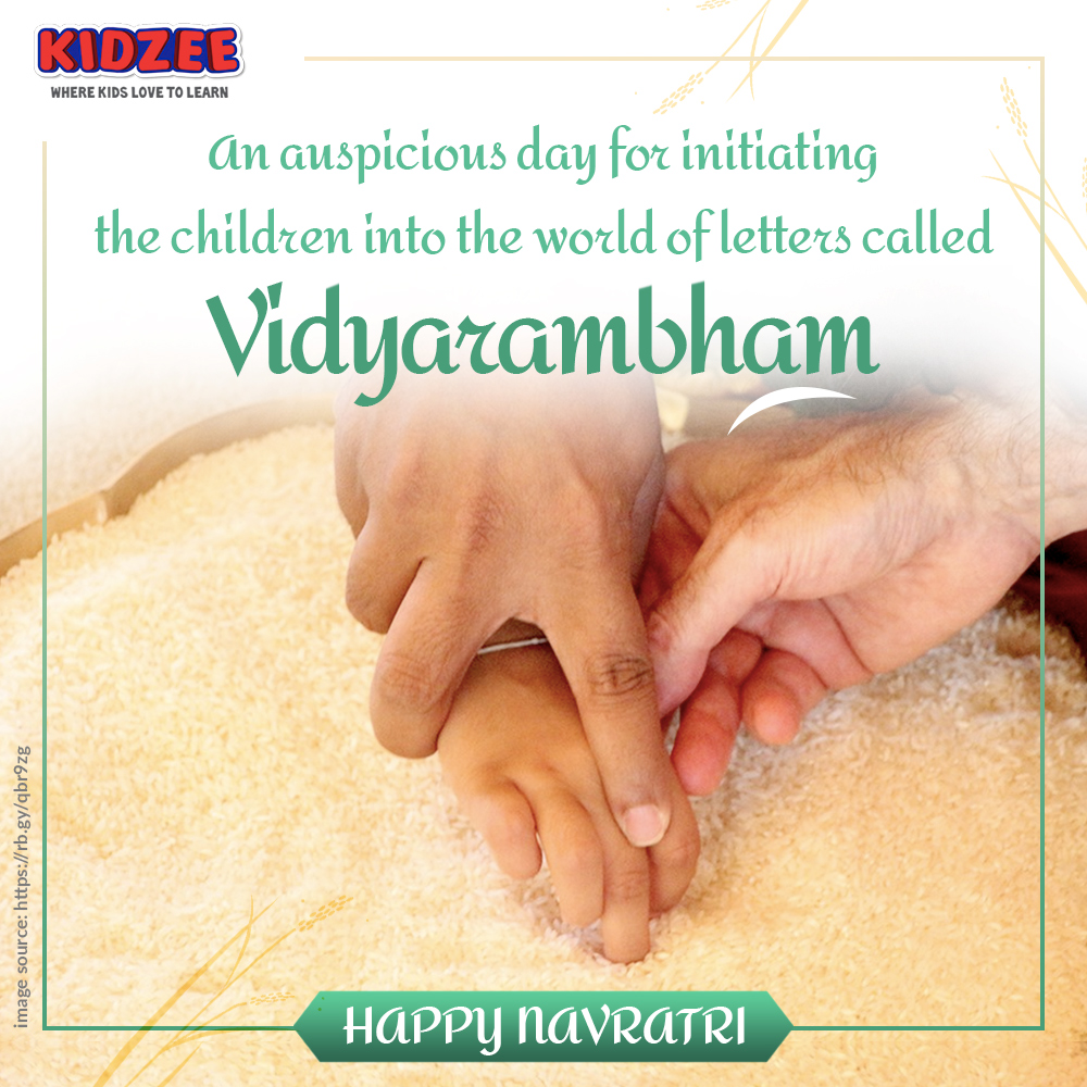 #Navratri is celebrated in the month of 'Kanni' in Malayalam calendar.  On Vijayadashami day, thousands of children move their little fingers in rice or sand spread on a platter to write their first #letters guided by an elder.  Enroll your child at #Kidzee today!  #9Days9States https://t.co/VXz3xCFW1W