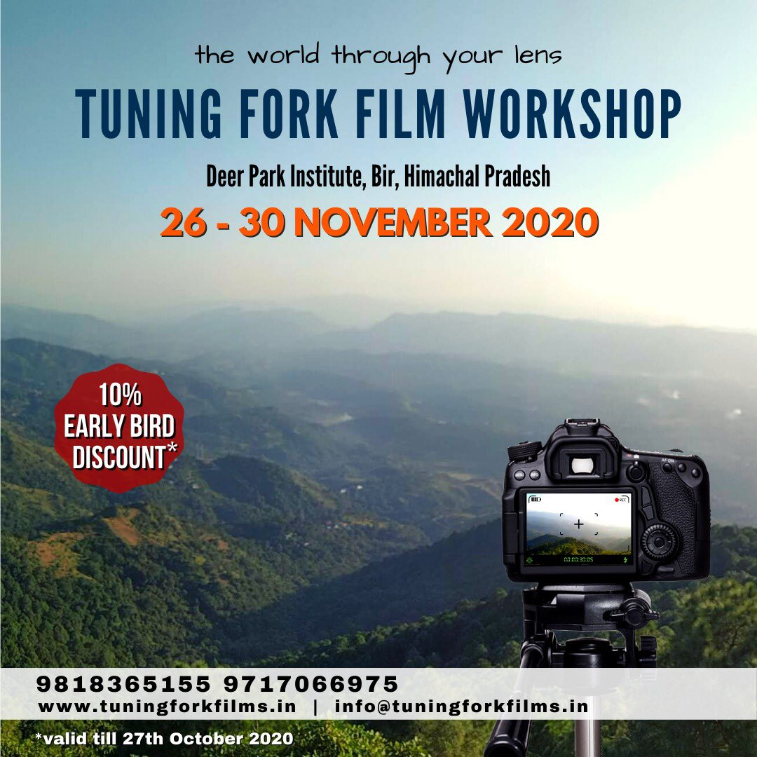 Foundational #workshop on film & #filmmaking with some very talented & creative filmmaker friends at the stunning #DeerParkInstitute in Bir in the #Himalayas. All measures will be taken to ensure a safe experience. If interested,register at: https://t.co/a76CE1DgJn #opportunity https://t.co/Ybh4aIdwoe
