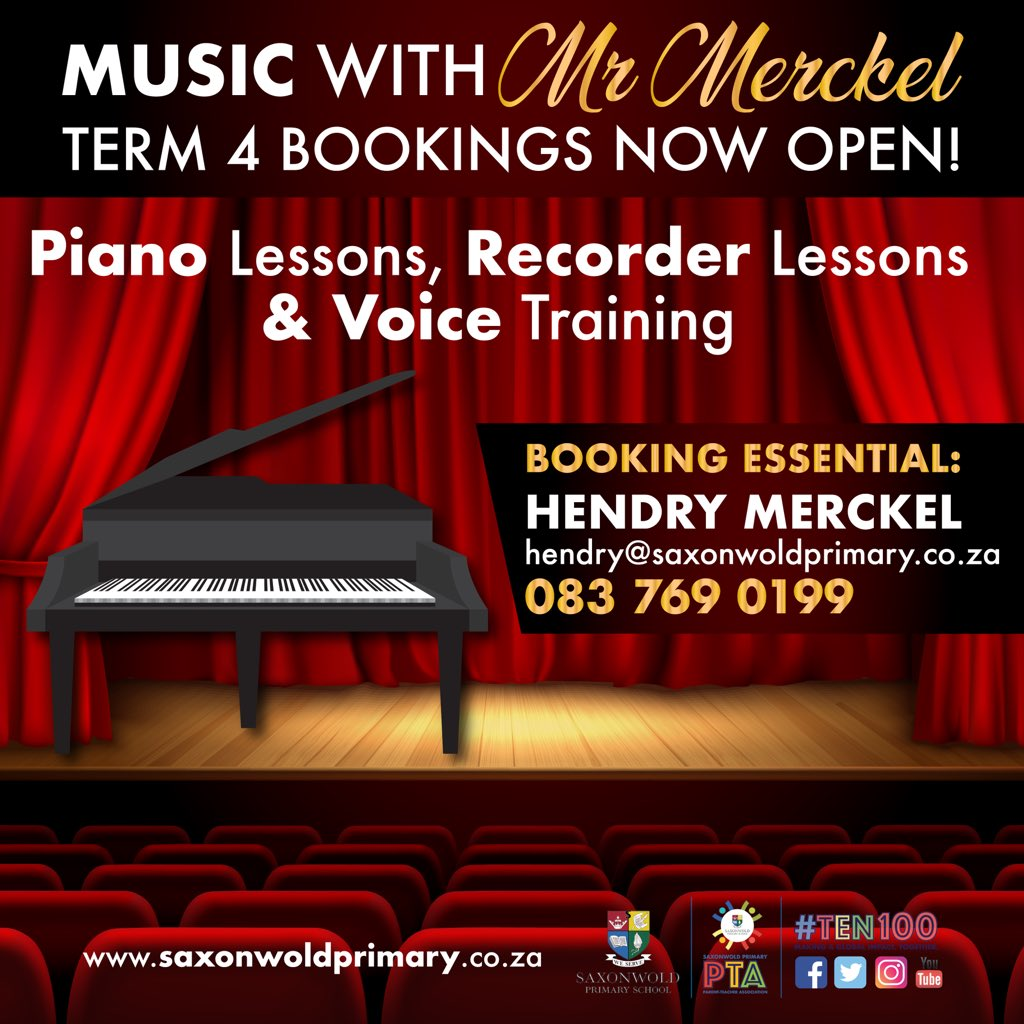 Music helps children grow in self-esteem, build essential skills and prepare for bright futures! 🎼 Our learners are yet again in for a treat as our AMAZING music teacher, Mr Merckel will be offering extra lessons in Term 4 from 2 November 2020. #musiclessons #singing #piano https://t.co/s8zVuPrN61